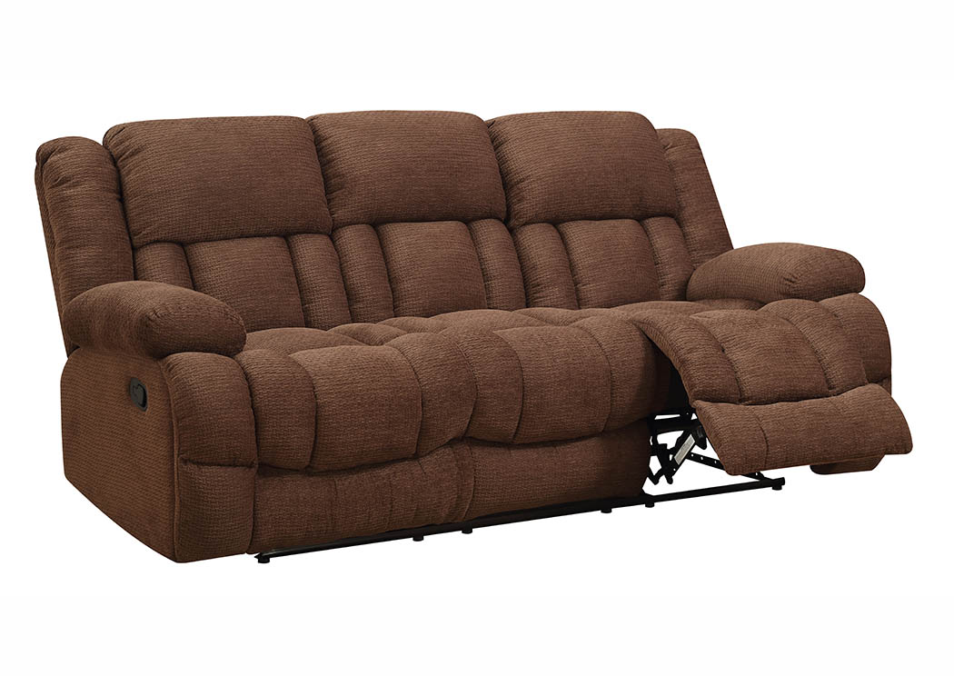 Chocolate Chenille Double Reclining Sofa,Furniture World Distributors