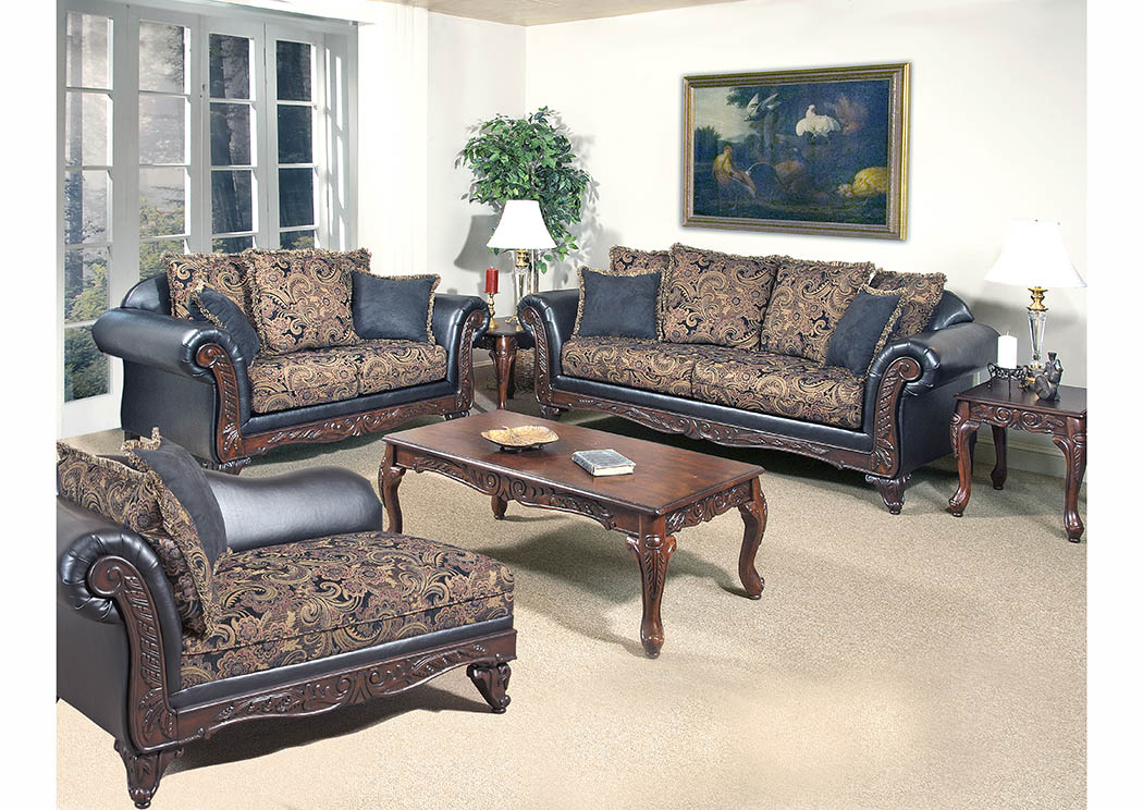 Black Paisley Sofa & Loveseat w/Scatter-Back Cushions,Furniture World Distributors