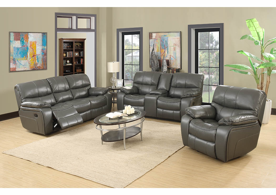 Gray Leather Reclining Sofa & Loveseat,Furniture World Distributors