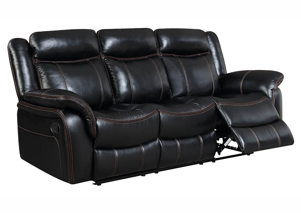 Black Leather Look Double Reclining Sofa,Furniture World Distributors