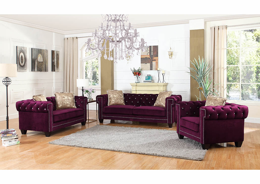 Purple Velvet Sofa w/Pillows,Furniture World Distributors