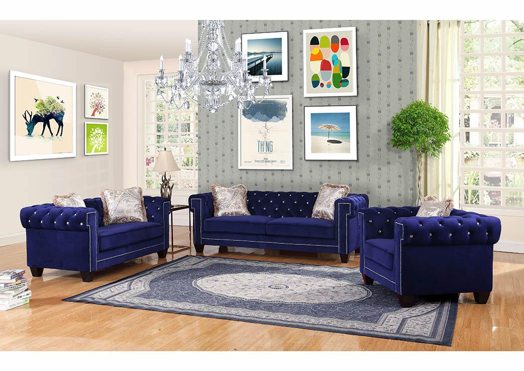 Royal Blue Velvet Sofa W Pillows Bayit Furniture