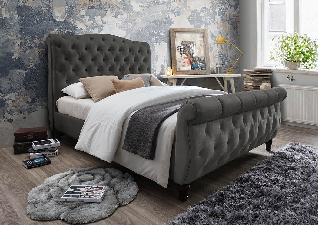Gray Linen Upholstered Sleigh Queen Bed Frugal Furniture Boston Mattapan Jamaica Plain Dorchester Ma