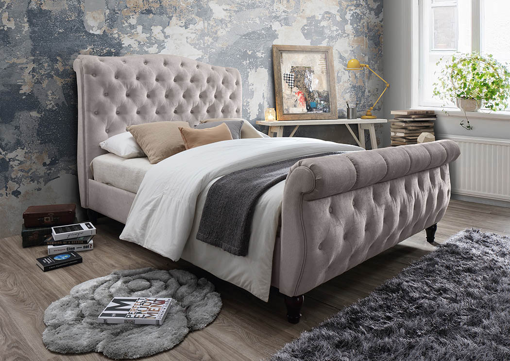 Cream Linen Upholstered Sleigh King Bed Mattress Master