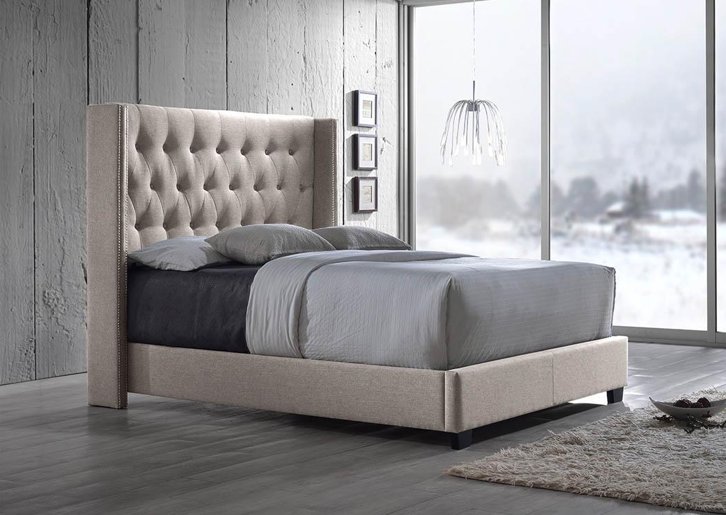Cream Linen Upholstered King Bed Mattress Master