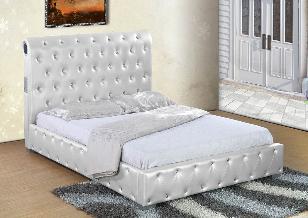 White Upholstered Sleigh Queen Bed,Furniture World Distributors