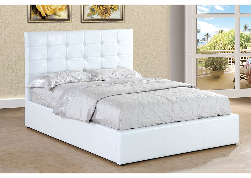 White Upholstered Queen Lift Bed,Furniture World Distributors