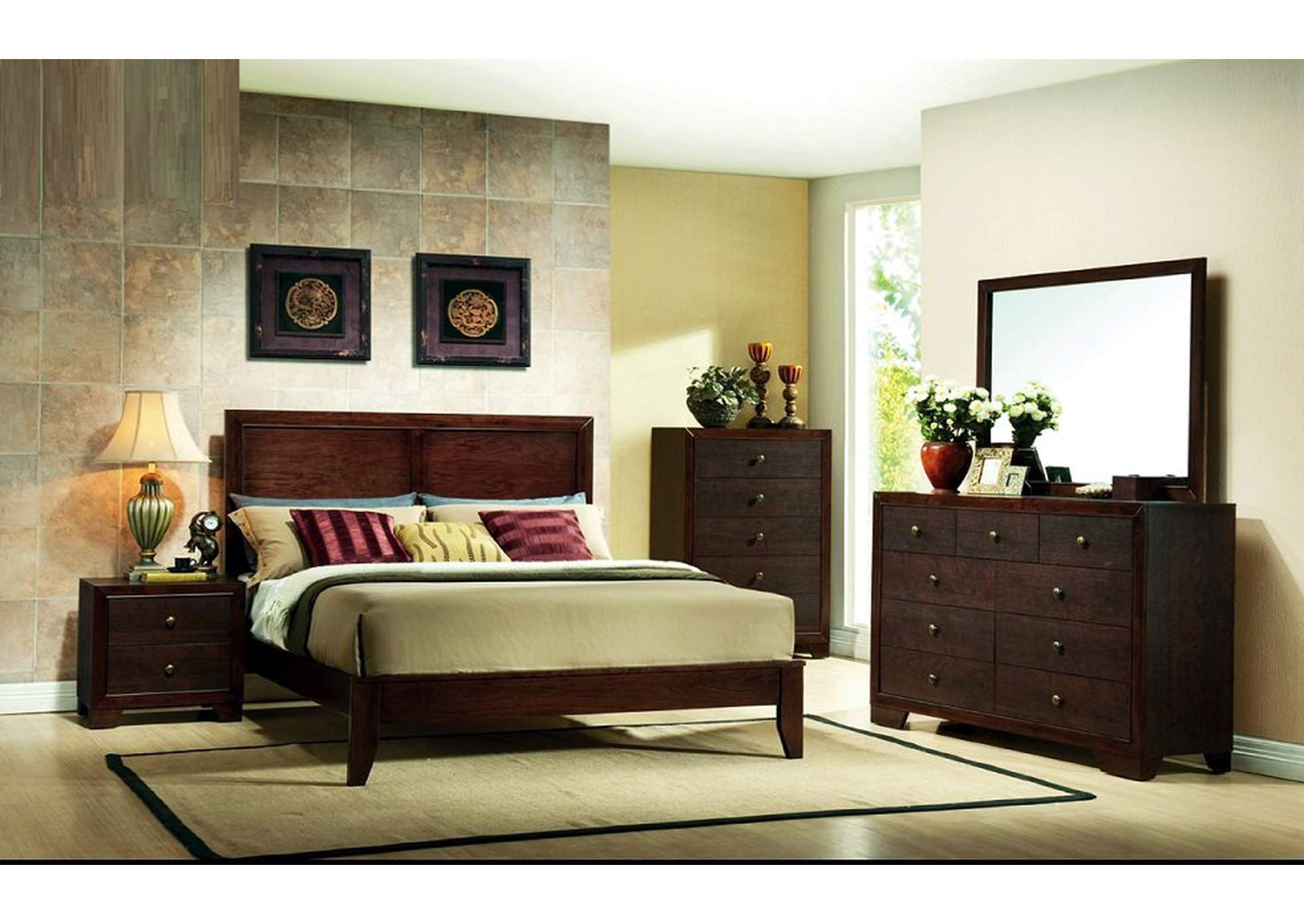 Brown Cherry Queen Bed,Furniture World Distributors