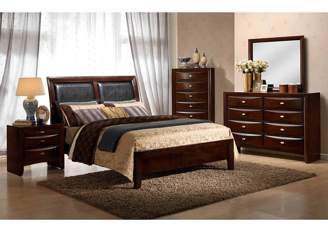 Cherry Upholstered Sleigh Queen Bed,Furniture World Distributors