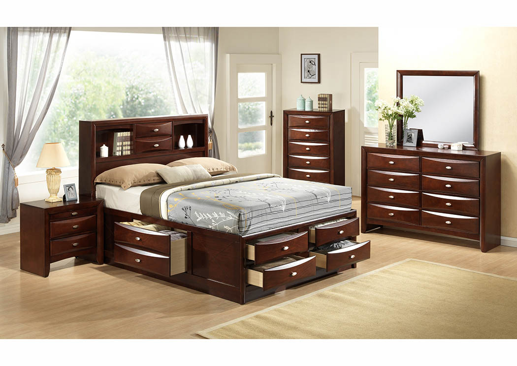 Cherry Bookcase Storage Queen Bed,Furniture World Distributors
