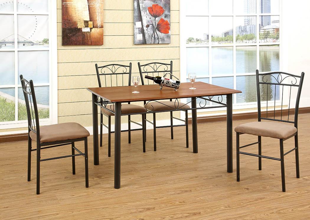 Medium Oak Dining Table W Black Metal Base Direct Mattress Furniture New Rochelle Ny