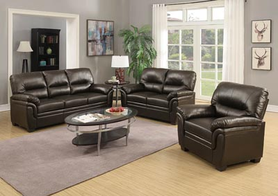 Chocolate Leather Look Sofa & Loveseat