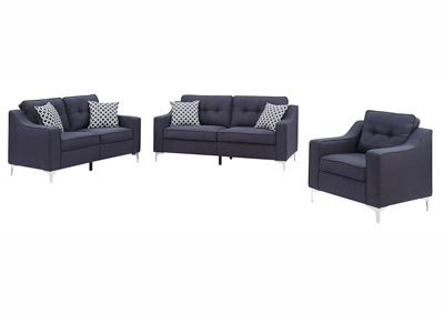 Navy Linen Sofa & Loveseat w/Pillows