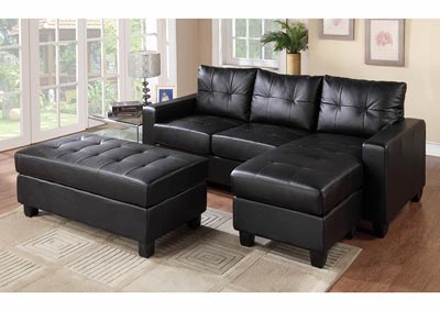 Image for Black Sofa Chaise w/Ottoman