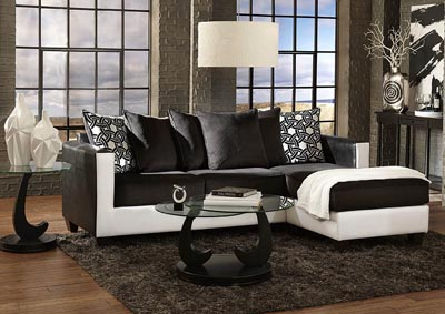 Image for Black/White Sofa Chaise w/Corduroy Seating