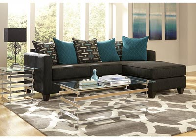 Image for Charcoal/Teal Sofa Chaise w/Scatter-Back Pillows