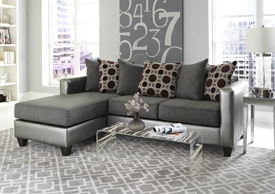 Image for Silver/Gray Sofa Chaise w/Scatter-Back Pillows