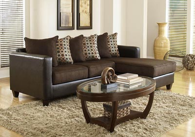 Image for Brown Sofa Chaise w/Scatter-Back Pillows