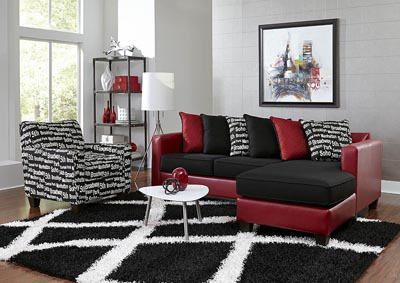 Image for Red/Black Sofa Chaise w/Scatter-Back Pillows