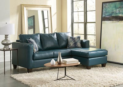Teal Sofa Chaise w/Scatter-Back Pillows