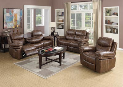 Image for Weathered Brown Bonded Leather Glider Recliner