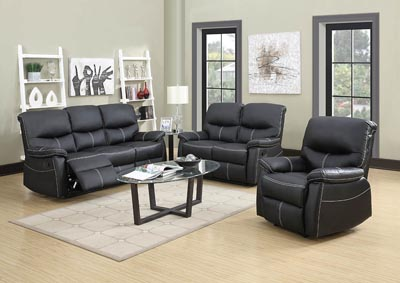 Image for Black Leather Look Glider Recliner