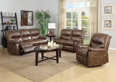 Image for Weathered Brown Leather Look Glider Recliner