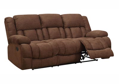 Chocolate Chenille Double Reclining Sofa