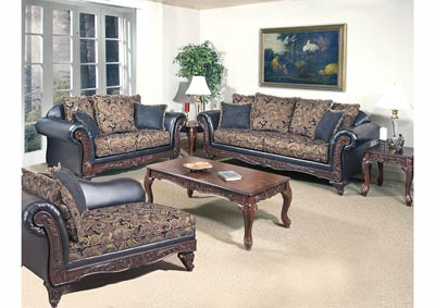 Black Paisley Sofa & Loveseat w/Scatter-Back Cushions