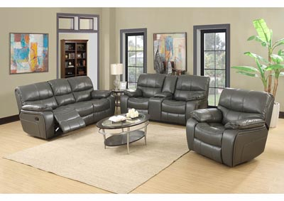 Gray Leather Reclining Sofa & Loveseat