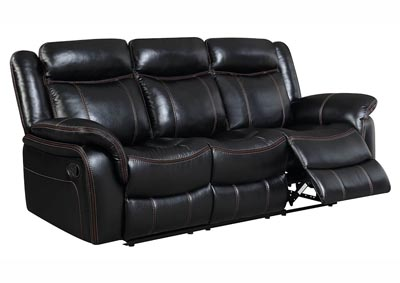 Black Leather Look Double Reclining Sofa
