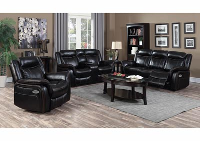 Image for Black Leather Look Power Double Reclining Sofa