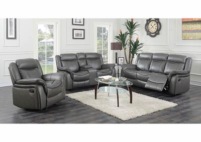 Gray Leather Look Double Reclining Sofa