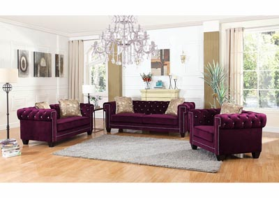 Purple Velvet Sofa w/Pillows