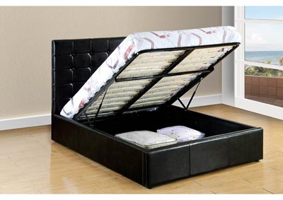Black Upholstered Queen Lift Bed