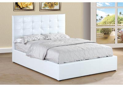 White Upholstered Queen Lift Bed