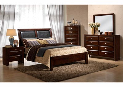 Cherry Upholstered Sleigh Queen Bed