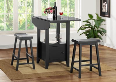 Image for Black Counter Height Stool (Set of 2)