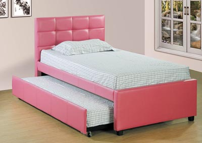 Image for Pink Upholstered Twin Trundle Bed
