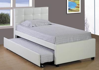 Image for White Upholstered Twin Trundle Bed