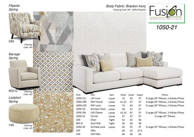 Image for Braxton Ivory Braxton Ivory Loveseat w/Chaise