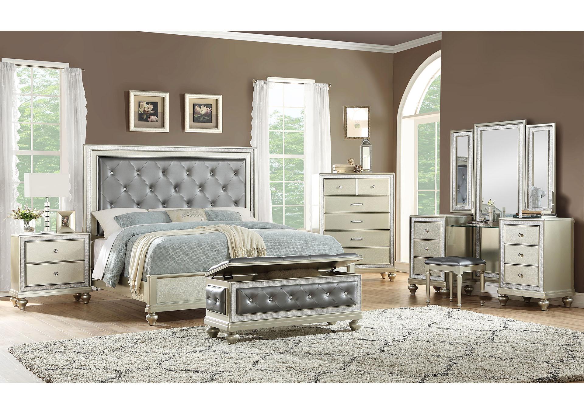 Champagne Zara Queen Bedroom 5 Piece Set Queen Bed Vanity Mirror 1 Nightstand Chest U And U Home Budget Furniture