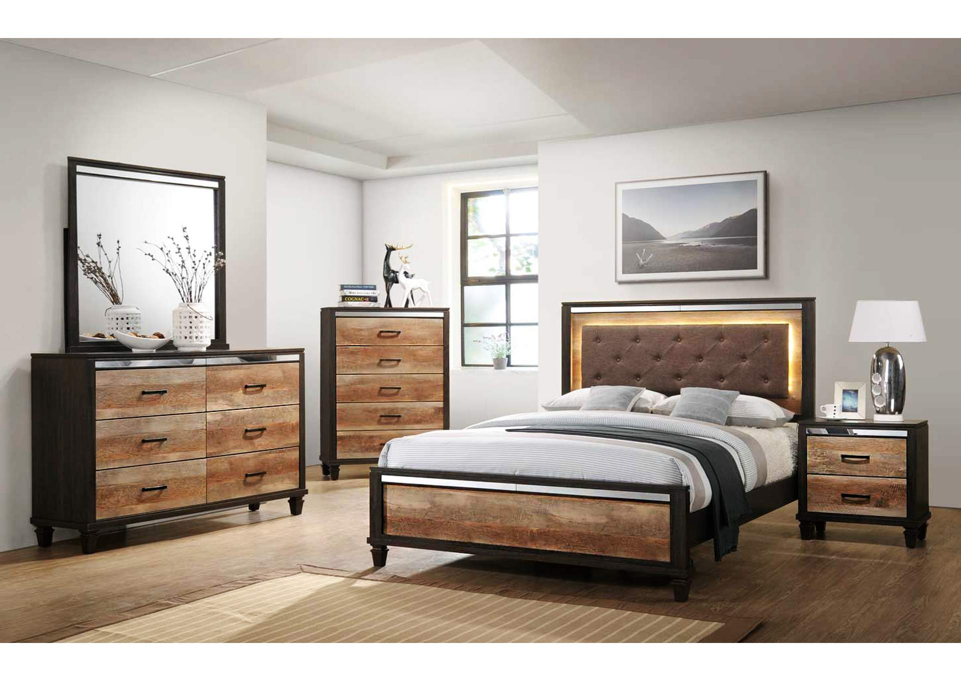 Trishelle Espresso Queen Bed,Global Trading