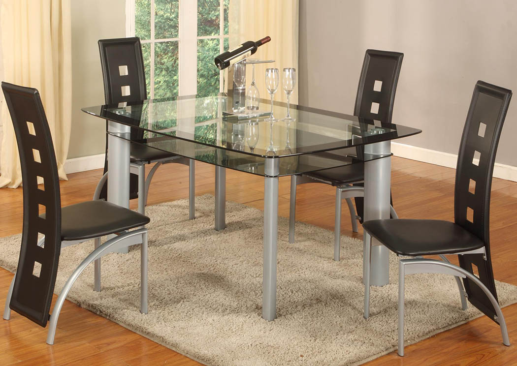10MM Black Edge Tempered Glass-Top Dinette (Set of 5),Global Trading