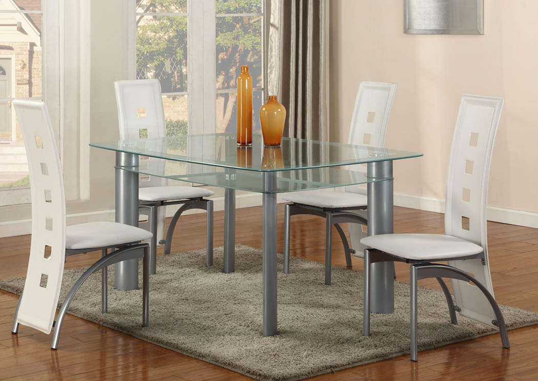 10 MM White Edge Tempered Glass-Top Dinette Set (Set of 5),Global Trading