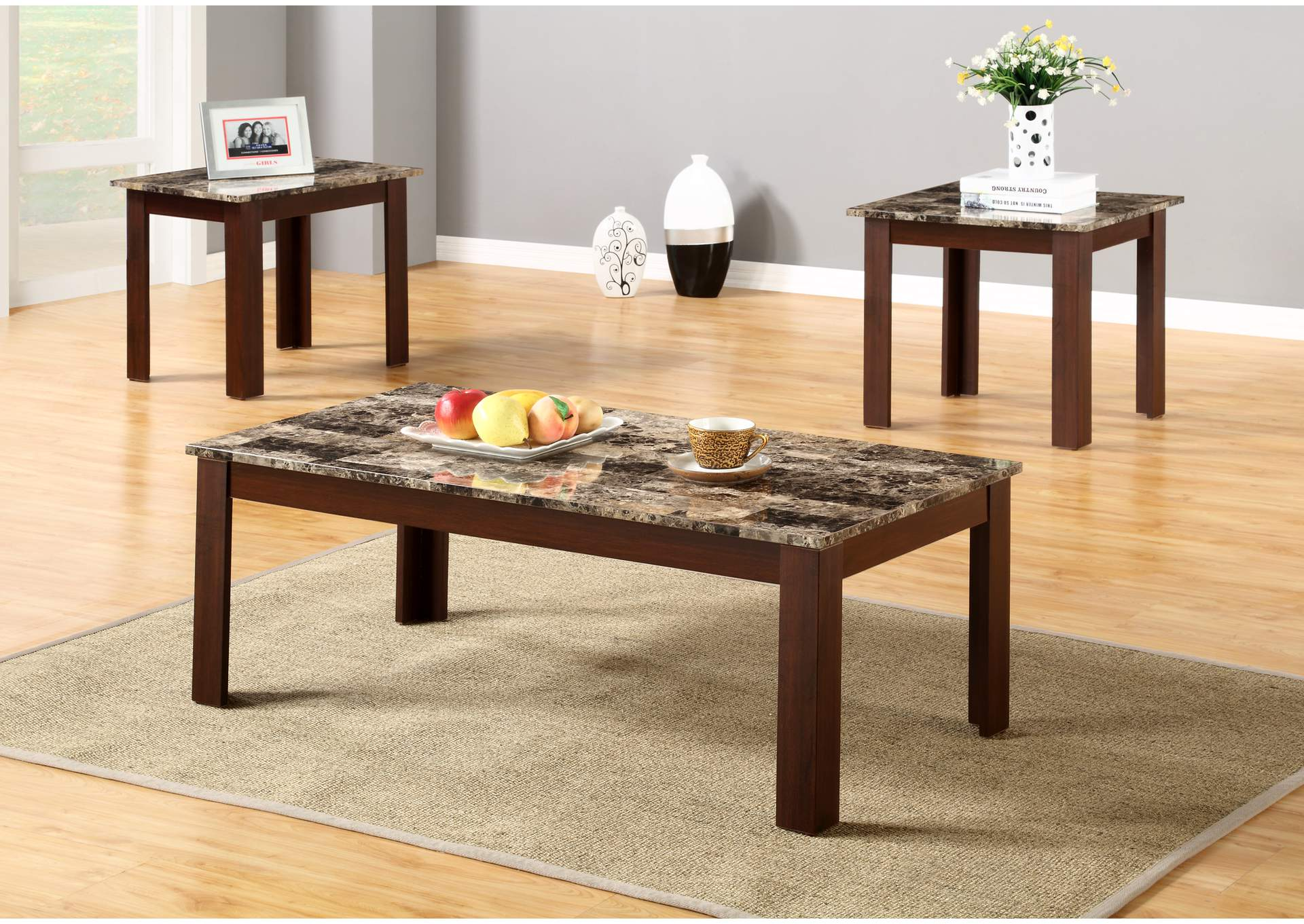 Brown 3 Piece Faux Marble Top Coffee And End Table Set,Global Trading