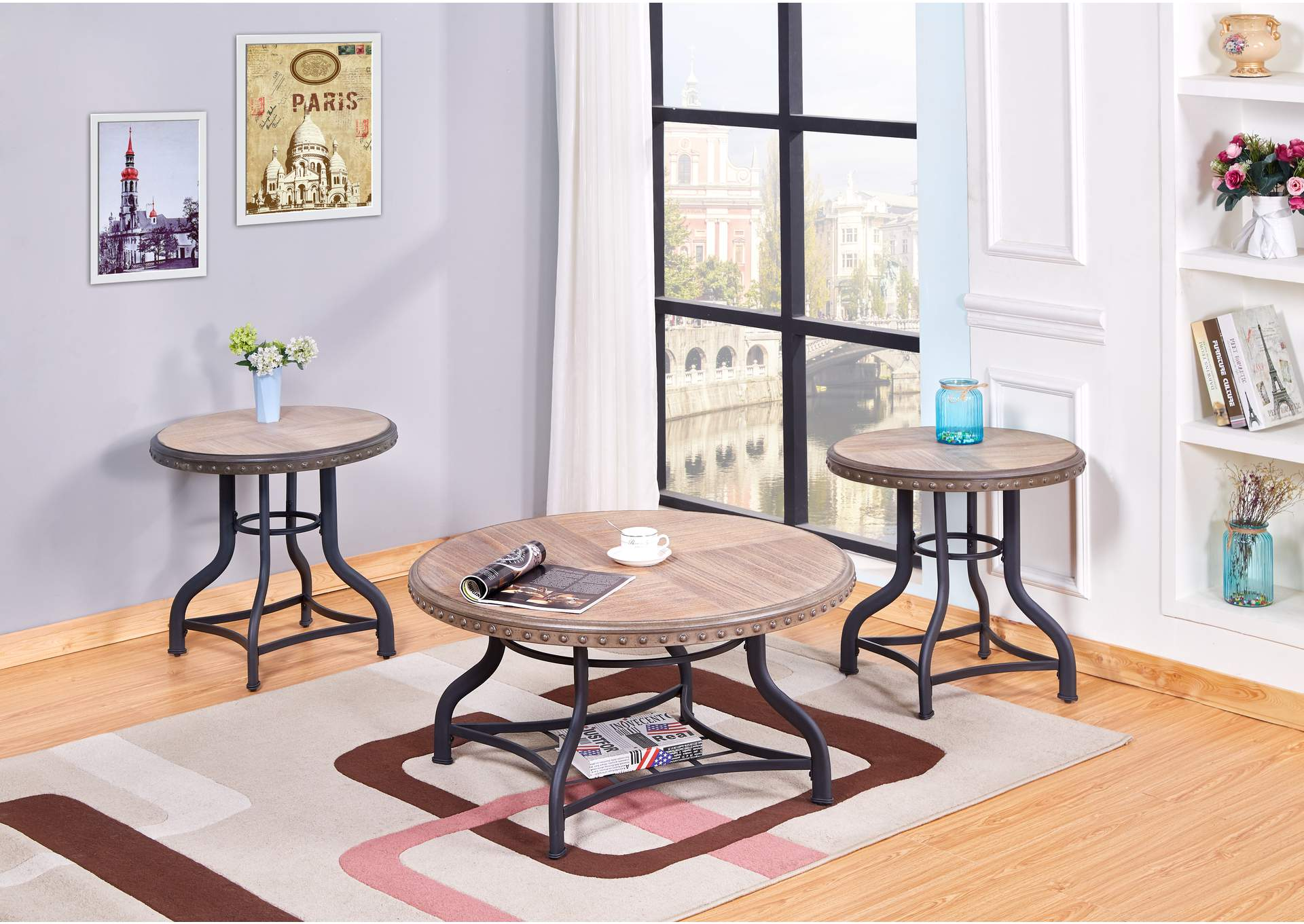 Oak 3 Piece Coffee & End Table Set,Global Trading