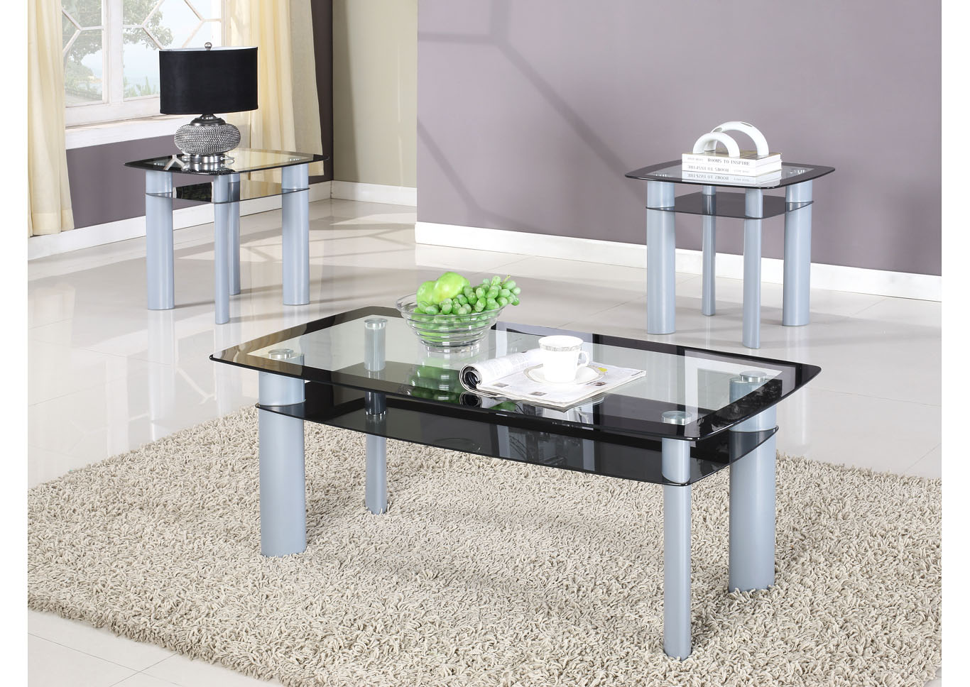 Black 3-Piece Glass Top Coffee Table Set,Global Trading