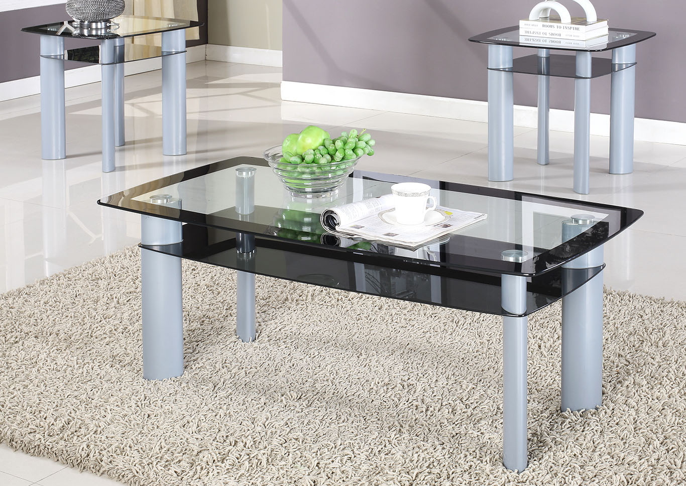 Black 3 Piece Glass Top Coffee Table Set Roses Flooring And Furniture