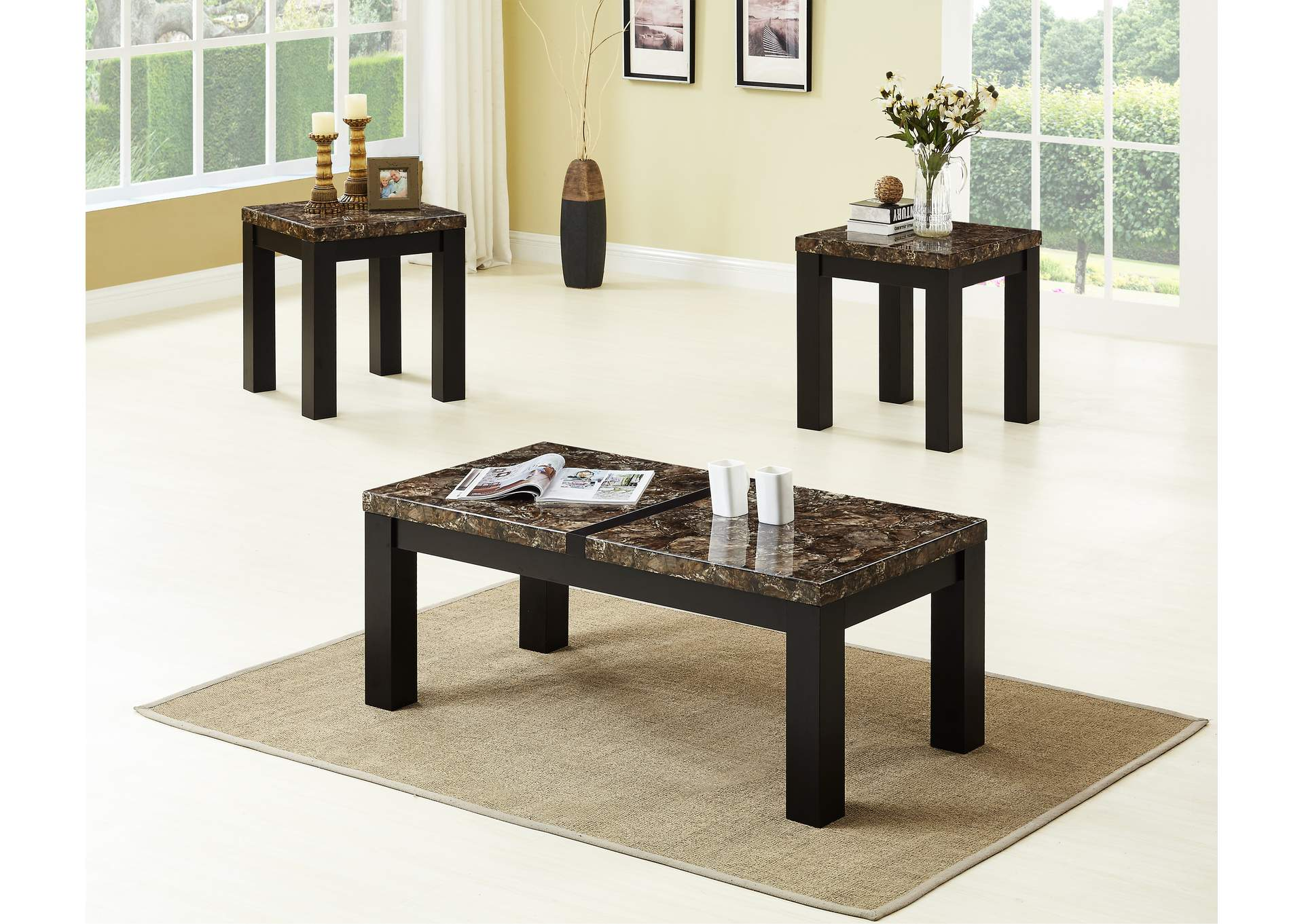 Brown 3 Piece Marble Top Coffee & End Table Set,Global Trading